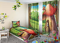 """Детские ФотоШторы """"Грибной домик"""" 2,5м*2,9м (2 полотна по 1,45м), тесьма, фото 1"""