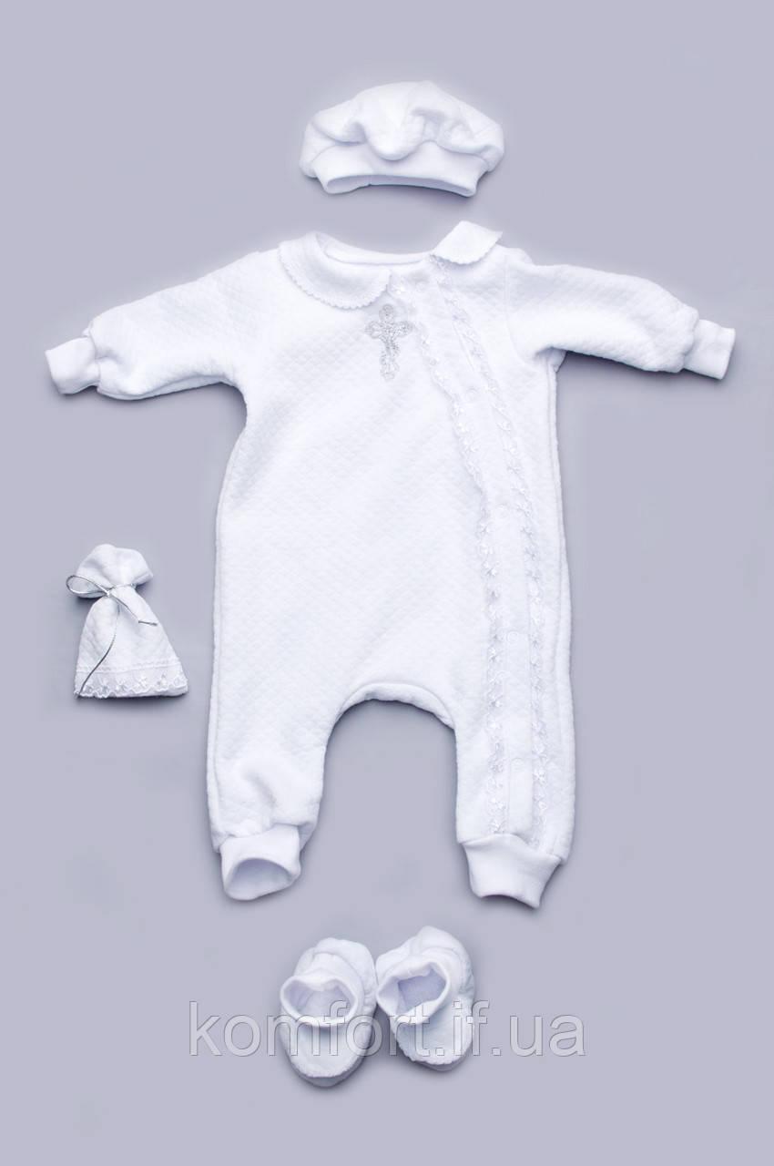 Крестильный набор для новорожденного с кружевом