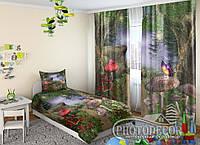 """Детские ФотоШторы """"Грибной лес"""" 2,5м*2,0м (2 полотна по 1,0м), тесьма"""