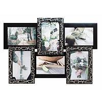 Семейная фоторамка Классическая на 6 фотографий (чёрное серебро)
