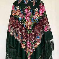 Женский платок большого размера (135х135см, зелёный, 80%-шерсть)