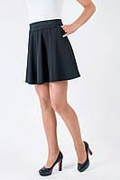 Модная школьная юбка с широким поясом черная