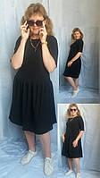Платье женское однотонное в 12-ти цветах с рюшой миди Сукня жіноча міді