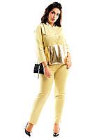 """Замшевый брючный женский костюм """"Sherin"""" с кожаными вставками (большие размеры)"""
