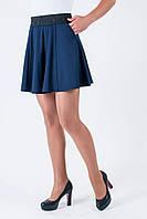 Модная школьная юбка с широким поясом синяя