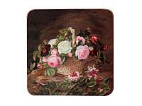 """Набор из 4 деревянных подставок под чашку """"Розы"""" 11 х 11 см"""