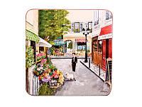 "Набор из 4 деревянных подставок под чашку ""Улицы Парижа"" 11 х 11 см"