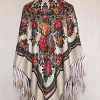 Красивый платок для девушки (110х110см, 80%-шерсть, молочный)