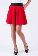 Модная школьная юбка с широким поясом красная