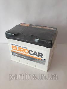 Аккумулятор 6СТ-62 EUROCAR Гарантия 3 ГОДА (Пусковой ток 600En, габариты 242х175х190, Премиум класс)