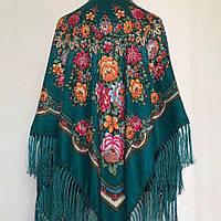 Вишукана жіноча хустина смарагдового кольору (110х110см, 80%-шерсть, смарагдовий)