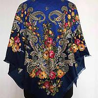 Красивый женский платок (100х100см, 80%-шерсть, Електрик-Синій), фото 1
