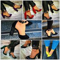 Женские кожаные туфли с ремешком на толстом каблуке (много цветов)