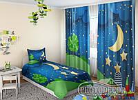 "Дитячі ФотоШторы ""Місяць і зорі"" 2,5 м*2,9 м (2 полотна по 1,45 м), тасьма"