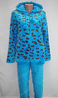Теплая женская велюровая пижама голубая