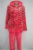 Теплая женская велюровая пижама красная