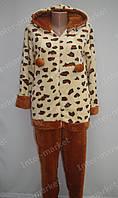 Теплая женская велюровая пижама коричневая