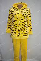 Тепла жіноча махрова піжама жовта