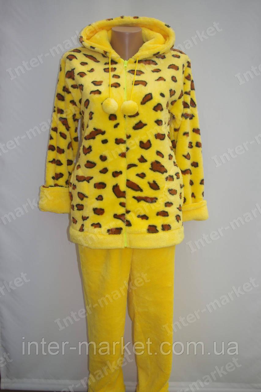 Теплая женская махровая  пижама желтая, фото 1