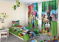 """Детские ФотоШторы """"Микки и Минни Маус"""" 2,5м*2,9м (2 полотна по 1,45м), тесьма, фото 1"""