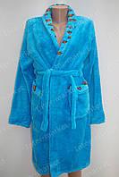 Махровий жіночий халат на запах M, L блакитний