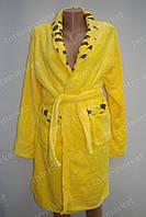 Махровий жіночий халат на запах M, L жовтий