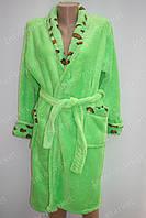 Махровый женский халат на запах M, L салатовый