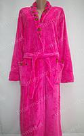 Махровый женский халат на запах XL, XXL розовый