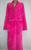 Махровий жіночий халат на запах XL, XXL рожевий