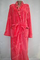 Махровый женский халат на запах XL, XXL лососевый