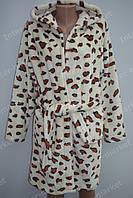 Махровий жіночий халат на запах S, M, L білий
