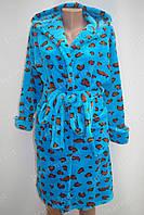 Махровый женский халат на запах S, M, L голубой
