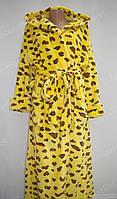 Махровый женский халат на запах L, XL, XXL желтый