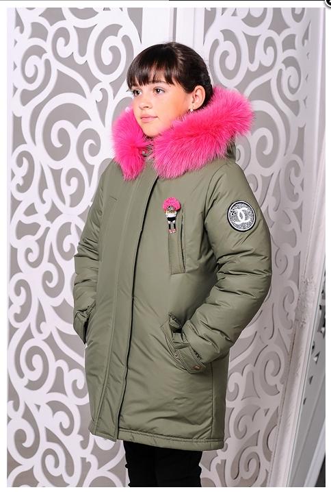 0b5ab684f4f Зимнее пальто для девочки с искусственным мехом (черный