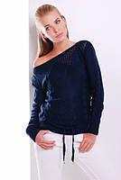 Ажурный свитерок №22 р. 44-50 (универсал) темно-синий