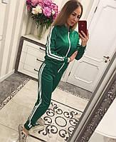 Женский модный атласный костюм хит: мастерка на молнии и брюки с лампасами