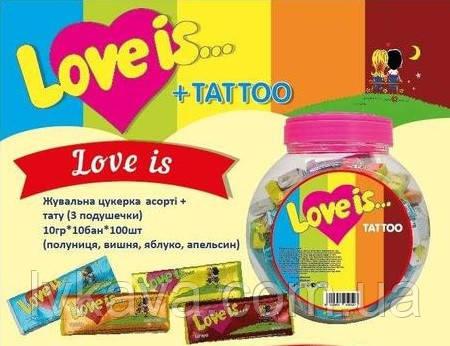 Жувальна гумка Love is асорті + тату , 9 гр х 100 шт