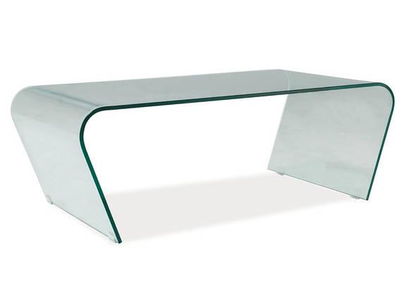 Журнальний стіл 120х60х42 см Signal Tesla прозорий з цілісного скла в вітальню, фото 2