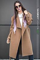 Пальто с большим отложным воротником цвет шоколад