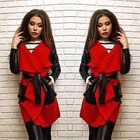 Женское пальто с поясом ткань кашемир+ эко-кожа красное