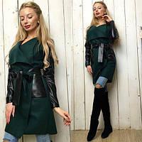 Женское пальто с поясом ткань кашемир+ эко-кожа зеленое