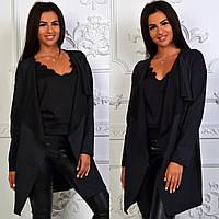 Кардиган женский с карманами ткань трикотаж черный, фото 1