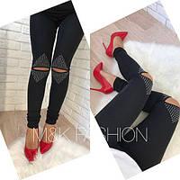 Женские стильные лосины с рваными коленями