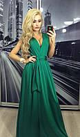 Нарядное изумрудное  платья в пол с декольте
