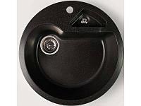 Гранитная мойка 51 см круглая Valetti цвет черный серия Europe модель №8