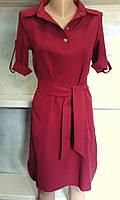 Платье с рубашечным воротником и поясом