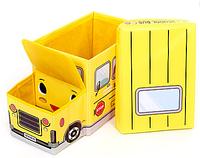 Детский пуфик школьный Автобус желтого цвета