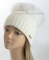 """Женская шапочка с большим песцовым помпоном """"Эскимо"""" белый"""