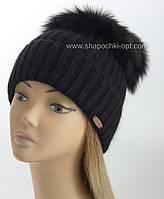 """Женская шапочка с большим песцовым помпоном """"Эскимо"""" черный"""