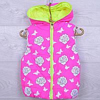 """Детская демисезонная жилетка """"Розочки"""" #8-1 для девочек. 3-5 лет. Розовый+салатовый. Оптом., фото 1"""